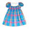 Baby Girl size 1, Rainbow Dress, girls smocked dress, Blue Petti skirt, Madras